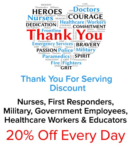 20% off for Law Enforcement, Military, Healthcare Workers & Educators